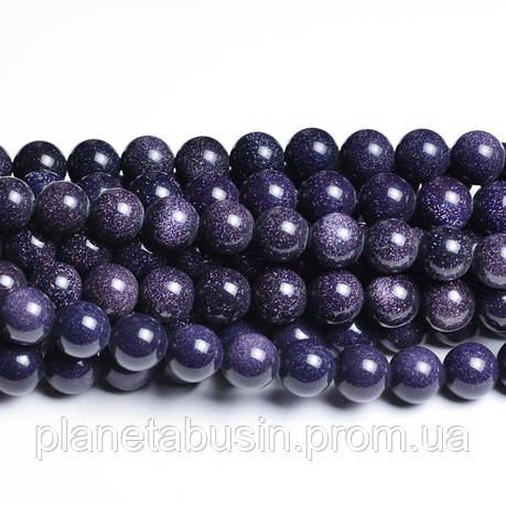 6 мм Синий Авантюрин, Натуральный камень, Голдстоун, бусины 6 мм, Отверстие 1 мм, количество:60-62 шт/нить, фото 2