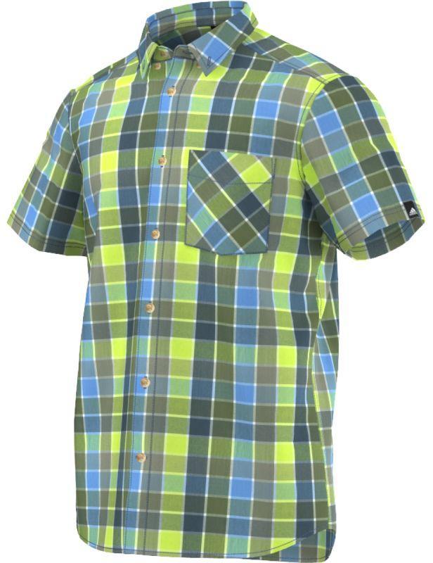 Рубашка мужская adidas HIKING S09942 (зелёная, хлопок, на выпуск, короткий рукав, пуговицы, логотип адидас)