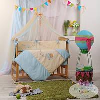 Детский комплект постельного белья  Детские мечты цвет авиатор голубой 7 предметов