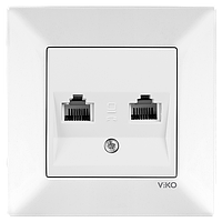 Розетка телефонная двойная (2 X RJ11) VIKO Meridian Белый (90970133)