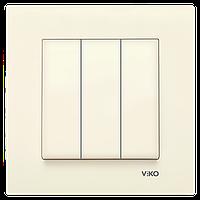 Выключатель 3-х клавишный VIKO Karre Крем (90960168)