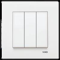 Выключатель 3-х клавишный VIKO Karre Белый (90960068)