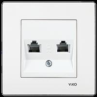 Розетка телефонная двойная (2 X RJ11) VIKO Karre Белый (90960033)