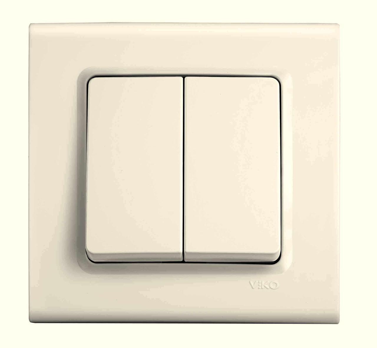 Выключатель двухклавишный VIKO Linnera Крем (90401002)