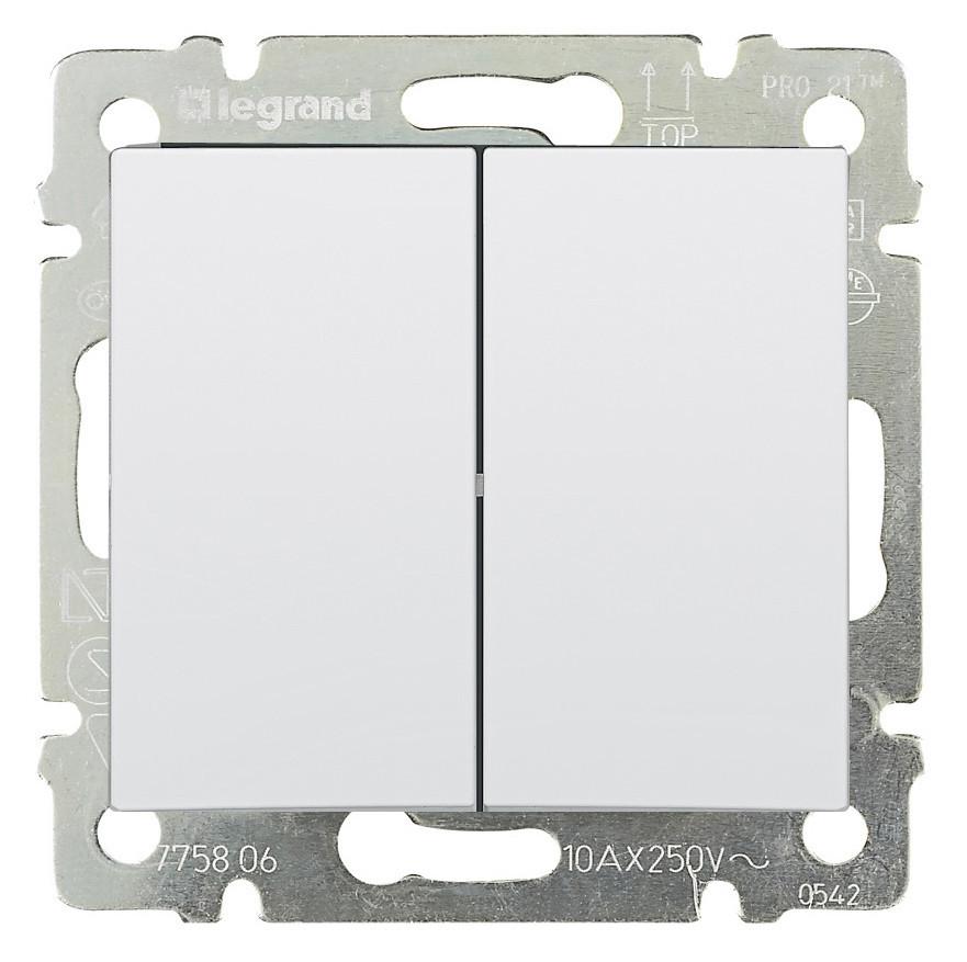 Переключатель проходной 2-х клавишный  Legrand Valena 10А Белый (774408)
