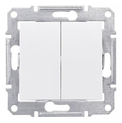 Выключатель двухклавишный проходной Schneider Electric Sedna 10А Белый SDN0600121