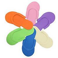 Тапочки одноразовые, вьетнамки для педикюра (Пенелон 2,5 ММ, цветные)12 пар в упаковке
