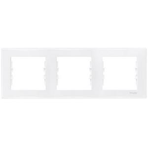 Рамка 3-х кратная Schneider Electric Sedna горизонтальная Белая SDN5800521