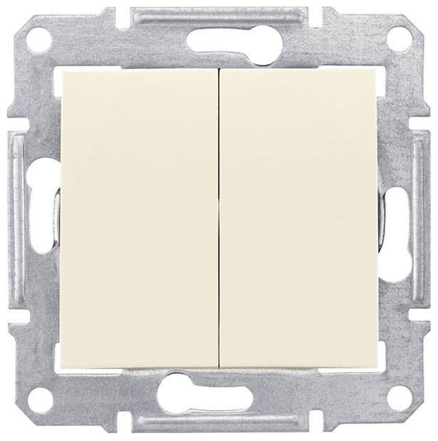 Выключатель двухклавишный проходной Schneider Electric Sedna 10А Слоновая кость SDN0600123