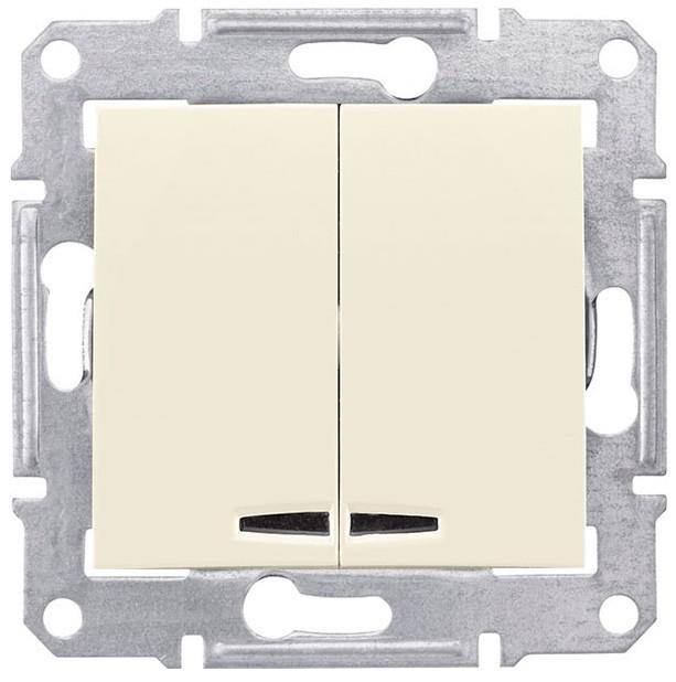 Выключатель двухклавишный с подсветкой Schneider Electric Sedna 10А Слоновая кость SDN0300323