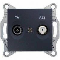 Розетка телевизионная + спутник проходная Schneider Electric Sedna 8 dB Графит SDN3401270