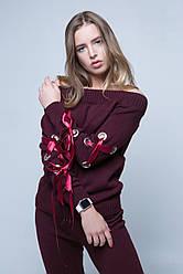 Женский вязаный молодежный костюм с лентами. Свитер на плечах. Бордовый, бежевый, розовый, серый