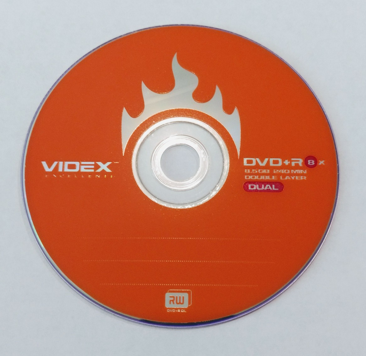 Диск DVD+R 8x Videx 8GB 240 min double layer dual