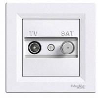 Розетка телевизионная + спутник проходная Schneider Electric Asfora 4 dB Белый EPH3400221