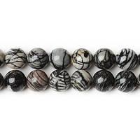 Яшма Чёрные Вены ,Натуральный камень, На нитях, бусины 8 мм, Шар, Отверстие 1 мм, количество: 47-48 шт/нить