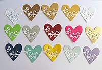 Вырубка из картона. Сердце с цветами, 50х52 мм