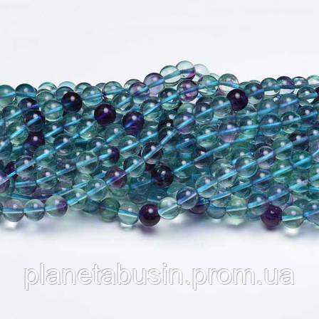 8 мм Флюорит, CN197 Натуральный камень, Форма: Шар, Отверстие: 1мм, кол-во: 47-48 шт/нить, фото 2