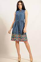 Летнее женское платье джинсовое лето 2017