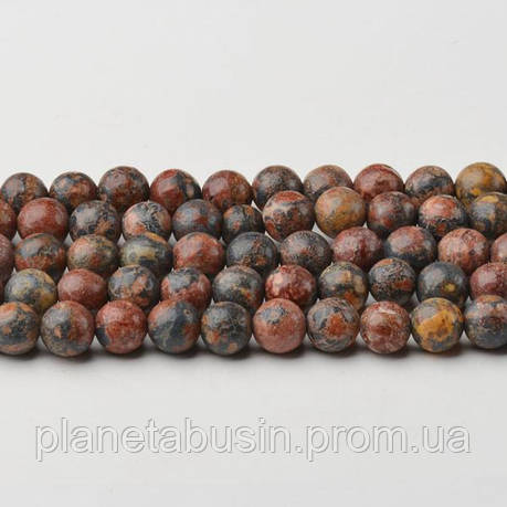8 мм Леопардовая Яшма, CN198 Натуральный камень, Форма: Шар, Отверстие: 1мм, кол-во: 47-48 шт/нить, фото 2
