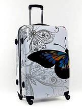 Чемодан пластиковый Bagia Tokyo белый с бабочками большой 90 л, фото 2