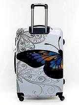 Чемодан пластиковый Bagia Tokyo белый с бабочками большой 90 л, фото 3
