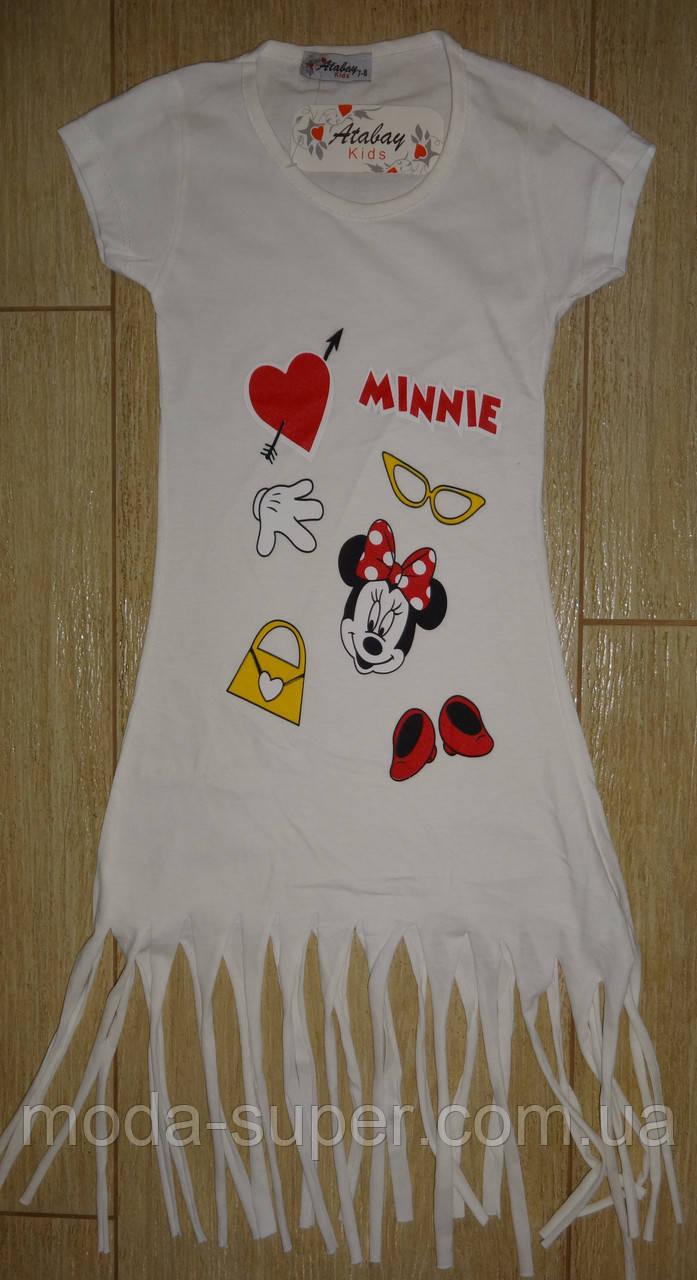 Платье-туника белое Мини-Маус