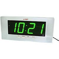 Настольные и настенные часы с будильником от сети с зеленой подсветкой VST-729-2