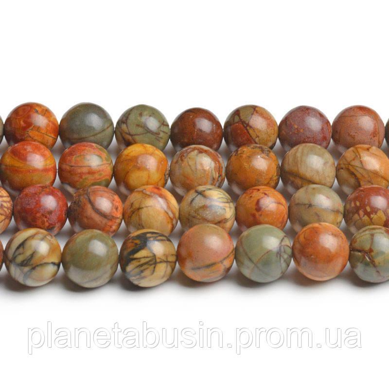 8 мм Яшма Пикассо АА, CN199, Натуральный камень, Форма: Шар, Отверстие: 1мм, кол-во: 47-48 шт/нить