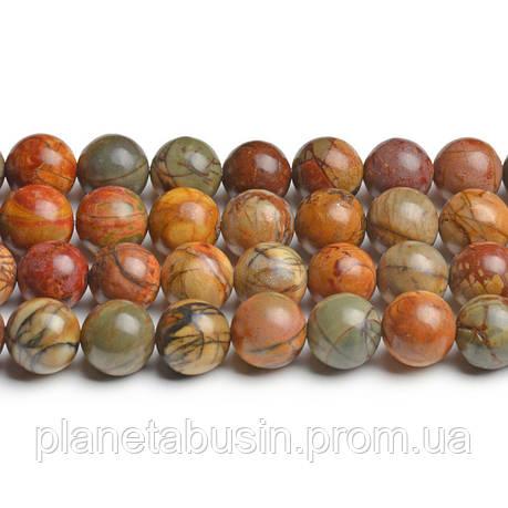 8 мм Яшма Пикассо АА, CN199, Натуральный камень, Форма: Шар, Отверстие: 1мм, кол-во: 47-48 шт/нить, фото 2