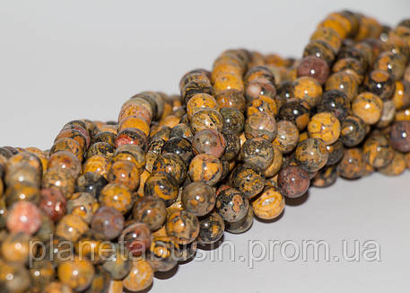 8 мм Жёлтая Леопардовая Яшма, CN200, Натуральный камень, Форма: Шар, Отверстие: 1мм, кол-во: 47-48 шт/нить, фото 2