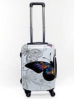 Чемодан пластиковый Bagia Tokyo белый с бабочками маленький 35 л