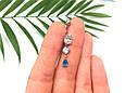 Серебряный пирсинг в пупок Капля голубая , фото 5