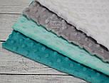 Набор отрезов плюша минки: белый, мятный, серый, морской (33*38), фото 2