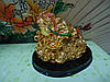Жаба  трёхлапая на деревянной  подставке Статуэтка под золото