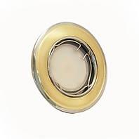 Светильник врезной, поворотный 50W HDL16002R золото матовое-хром, Delux
