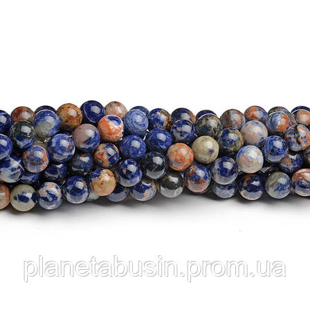 8 мм Оранжевый Содалит, CN201, Натуральный камень, Форма: Шар, Отверстие: 1мм, кол-во: 47-48 шт/нить, фото 2
