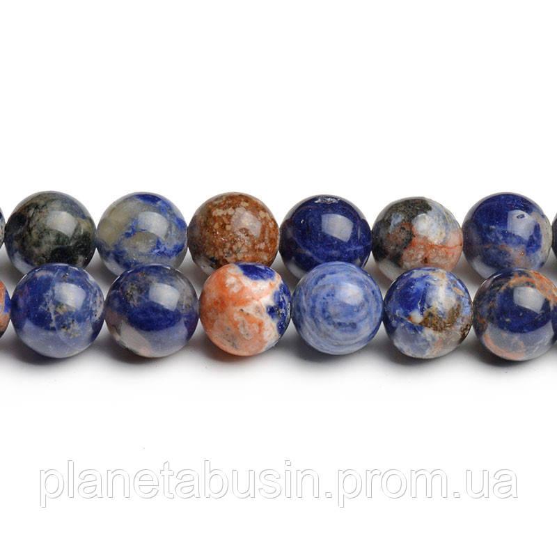 8 мм Оранжевый Содалит, CN201, Натуральный камень, Форма: Шар, Отверстие: 1мм, кол-во: 47-48 шт/нить