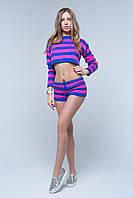 Женский спортивный костюм в полоску: шорты,топ длинный рукав. Фиолетовый, красный, ментол, розовый, пудра