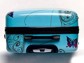 Чемодан пластиковый Bagia Tokyo голубой с бабочками средний 63 л, фото 2