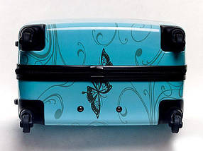 Чемодан пластиковый Bagia Tokyo голубой с бабочками средний 63 л, фото 3