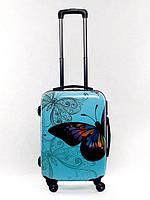 Чемодан пластиковый Bagia Tokyo голубой с бабочками маленький 35 л