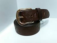 Женский коричневый кожаный ремень 35мм