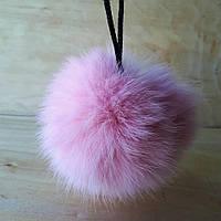 Меховой помпон из меха кролика 10-12 см светло-розовый, фото 1