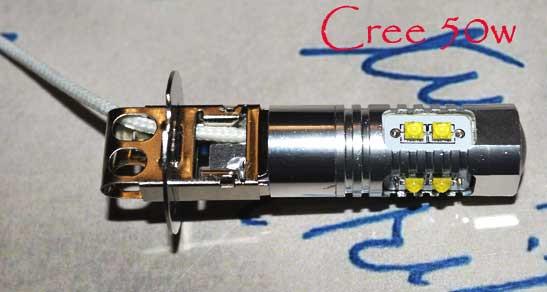 Автомобильная светодиодная лампа с цоколем H3 9-30V CREE 50W в противотуманные фонари