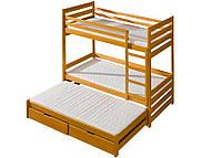 Двухъярусная кровать-трансформер из массива бука с дополнительным выдвижным спальным местом Соня
