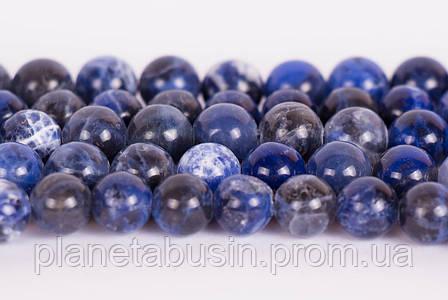 8 мм Содалит, CN203, Натуральный камень, Форма: Шар, Отверстие: 1мм, кол-во: 47-48 шт/нить, фото 2