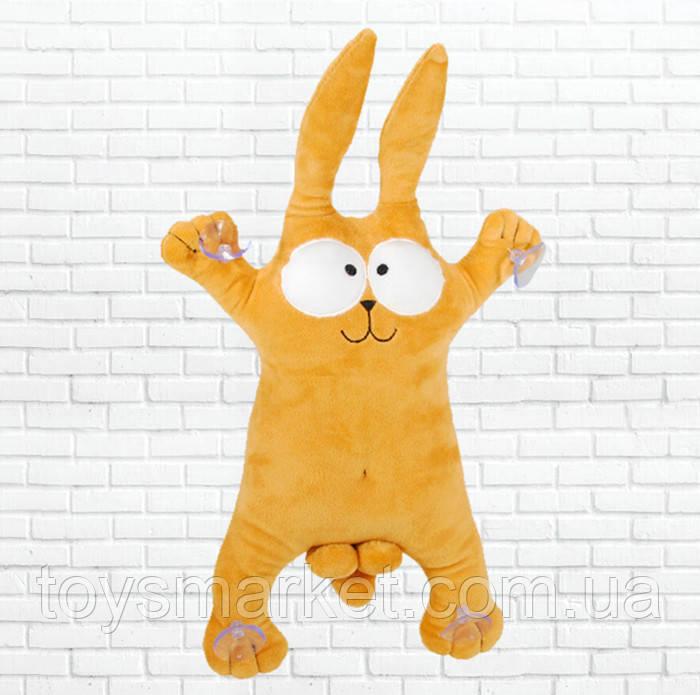 Детская мягкая игрушка,сувенир заяц, коричневый