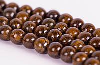 Бронзит, Натуральный камень, На нитях, бусины 8 мм, Круглые, Отверстие 1 мм, количество: 47-48 шт/нить