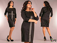 Красивое женское платье с кружевными вставками из Экокожи 48, 50, 52, 54 размеры баталы