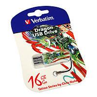 Флешка 16Gb Verbatim Store'N'Go Mini Tattoo Dragon / 49888